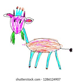 Children's clumsy drawing of a goat in the crown. A funny goat with a piece of grass in his mouth, hand-drawn in a primitive style. Clipart. Vector EPS10
