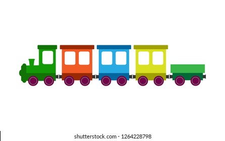 children's color train with a locomotive and wagons