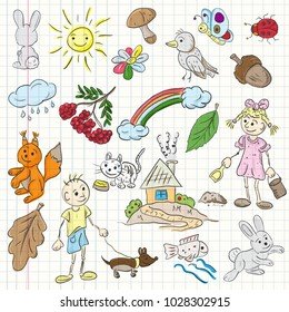childrens colored vector illustration in the style of sketch elements for design nature Pets plants kids boy girl nature is isolated