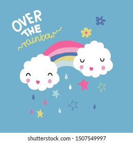 Children's and colorful illustration with cute rainbow.