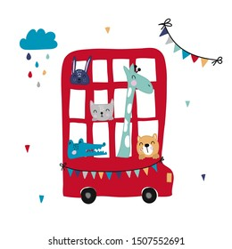 Children's and colorful illustration with cute red bus with animals.