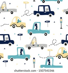Children's and colorful pattern with cute animals in cars. Great background for fabrics and textiles