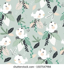 Children's and colorful pattern with cute birds with leaf. Great background for fabrics and textiles