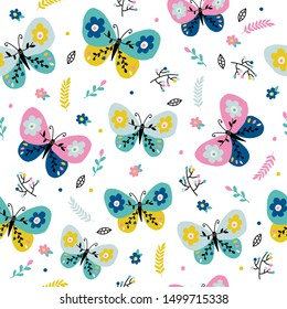 Children's and colorful pattern with cute butterfly. Great background for fabrics and textiles