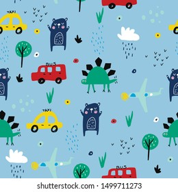 Children's and colorful pattern with cute dino, cars and plane. Great background for fabrics and textiles