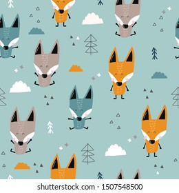 Children's and colorful pattern with cute fox. Great background for fabrics and textiles