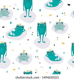 Children's and colorful pattern with cute frogs Great background for fabrics and textiles