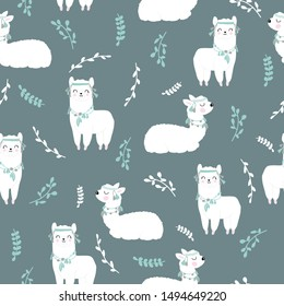 Children's and colorful pattern with cute Ilama. Great background for fabrics and textiles