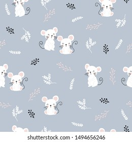 Children's and colorful pattern with cute mouses Great background for fabrics and textiles