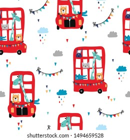 Children's and colorful pattern with cute red bus with animals. Great background for fabrics and textiles