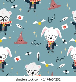 Children's and colorful pattern with cute wizards. Great background for fabrics and textiles
