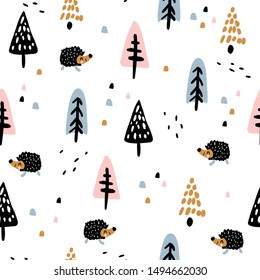 Children's and colorful pattern with cute woodlands and hedgehog. Great background for fabrics and textiles