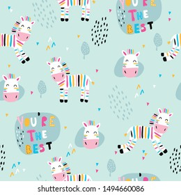 Children's and colorful pattern with cute zebra. Great background for fabrics and textiles