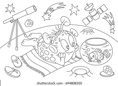 Children's coloring book. Cartoon alien on a background space in stars