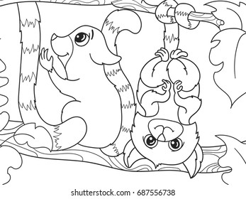 Childrens Coloring Book Cartoon Family Of Lemurs On Nature For Adults Vector Illustration Anti