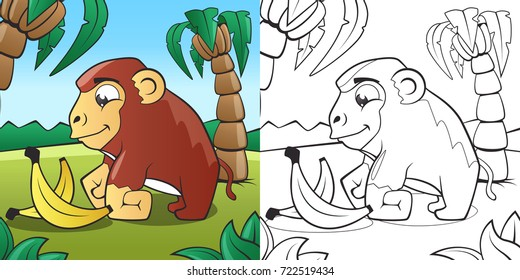 Children's Coloring Book. Cute Cartoon Monkey in African Jungle vector EPS10