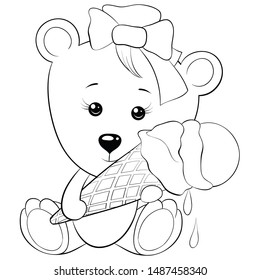 Children's coloring book,page a cute bear eating an ice cream  for relaxing activity.Line art style illustration for print.