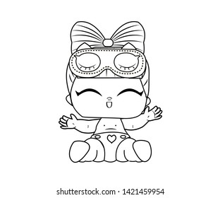 Children's coloring for little girls. Vector image of cheerful doll lol on white background.