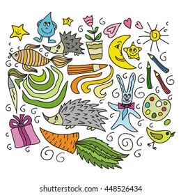 Children's creativity. Vector illustration.