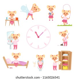 Childrens daily routine. Male and female kids in action poses. Vector girl happy daily activity, morning eat and reading in school illustration