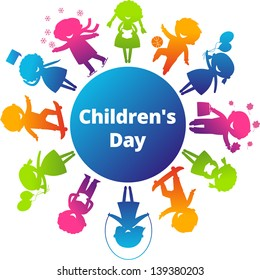 Childrens Day concept. Cute children silhouettes around the World. Earth Planet with colored children silhouettes.