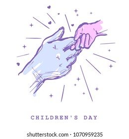 Children`s day concept. Hands of man and child holding together sketch hand draw vector illustration. Two hands holding each other strongly. Handshake. Two hands together