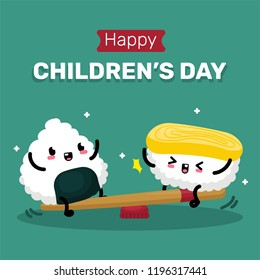 Children's Day with Cute Sushi Character Illustration Vector