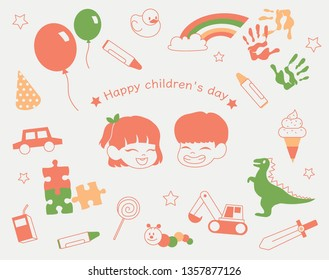 Children's Day Happy faces children and gift icons. hand drawn style vector design illustrations.