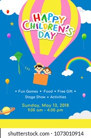 Children's day Poster invitation vector illustration. Kids in hot air balloon floating above clouds.