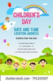 Children's day Poster invitation vector illustration. Kids playing in spring field