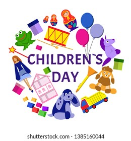 Childrens day vector logo illustration with lots of toys for kids and baby.