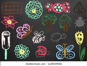 Children's drawing chalk on a blackboard. Design elements of packaging, postcards, wraps, covers. Sweet children's creativity. Flower, butterfly, bug, spider, fly, ladybug, ice cream, tree, cand
