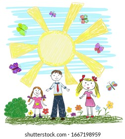 Children's drawing with children and the sun drawn by pencils. There is room for your text in the sun