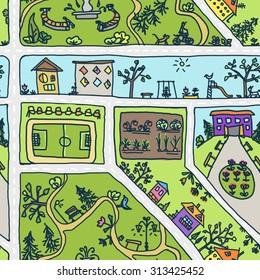 Children's drawing city map pattern seamless