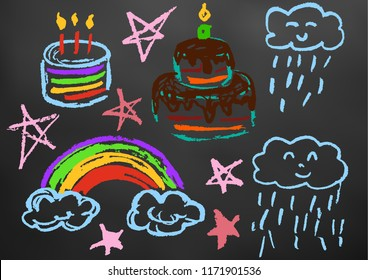 Children's drawing color chalk on a blackboard. Design elements of packaging, postcards, wraps, covers. Sweet children's creativity. Cake, candles, sweets, birthday, stars, clouds, rainbow, rain