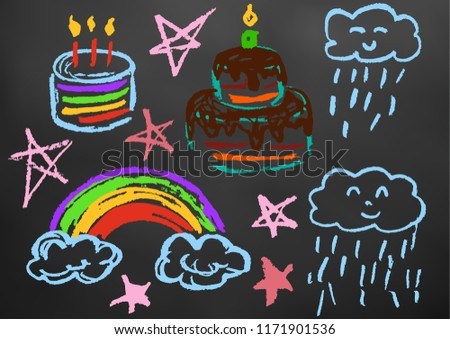 Childrens Drawing Color Chalk On Blackboard Stock Vector Royalty