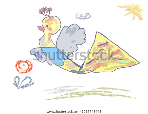 Childrens Drawing Fantastic Bird Happiness Gentle Stock