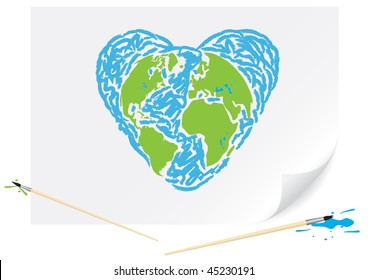Children's drawing a green earth heart a brush paints on a paper