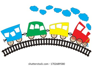 Children's drawing of a locomotive with multicolored cars