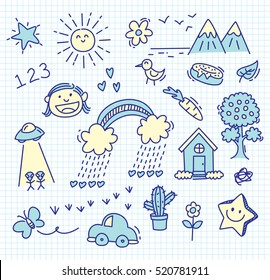 children's drawing on paper background