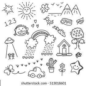 children's drawing on white background