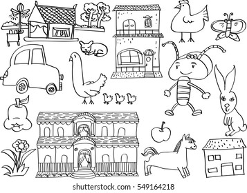 children's drawing on white background in doodle style. Hand draw vector illustration.