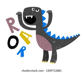 Childrens drawing of scary growling dinosaur flat. Growl dinosaur and monster. Vector illustration