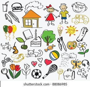children's drawing, the vector
