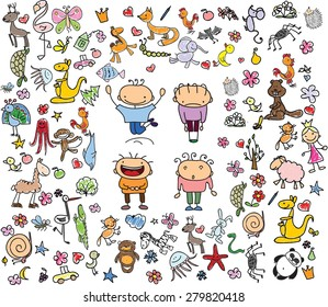 Children's drawings of doodle animals, people, flowers