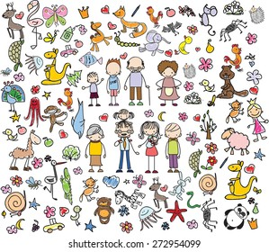 Children's drawings of doodle family, animals, people, flowers
