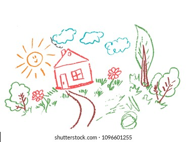 Children's drawings. Elements for the design of postcards, backgrounds, packaging. Prints for clothes. Drawing of wax crayons on a white background. Sun, clouds, trees, flowers, house