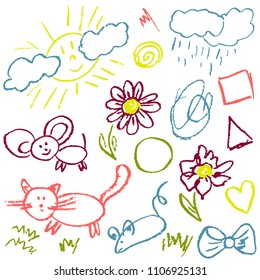 Children's drawings. Elements for the design of postcards, backgrounds, packaging. Prints for clothes. Drawing of wax crayons on a white background. Cat, mouse, sun, rain, flowers