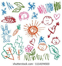 Children's drawings. Elements for the design of postcards, backgrounds, packaging. Prints for clothes. Drawing of wax crayons on a white background. Faces, hedgehog, trees