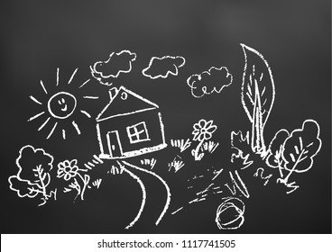 Children's drawings. Elements for the design of postcards, backgrounds, packaging. Printing for clothing. Drawing chalk on a black board. Landscape, house, trees, sun